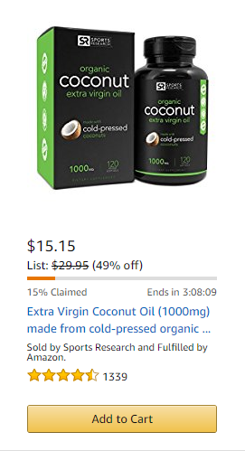 ad discount savemoney cheap affordable deal deals daily cheapest best coconut oil oils organic natural extra diet healthy hair supplements vegetarian gmo glutenfree shopping