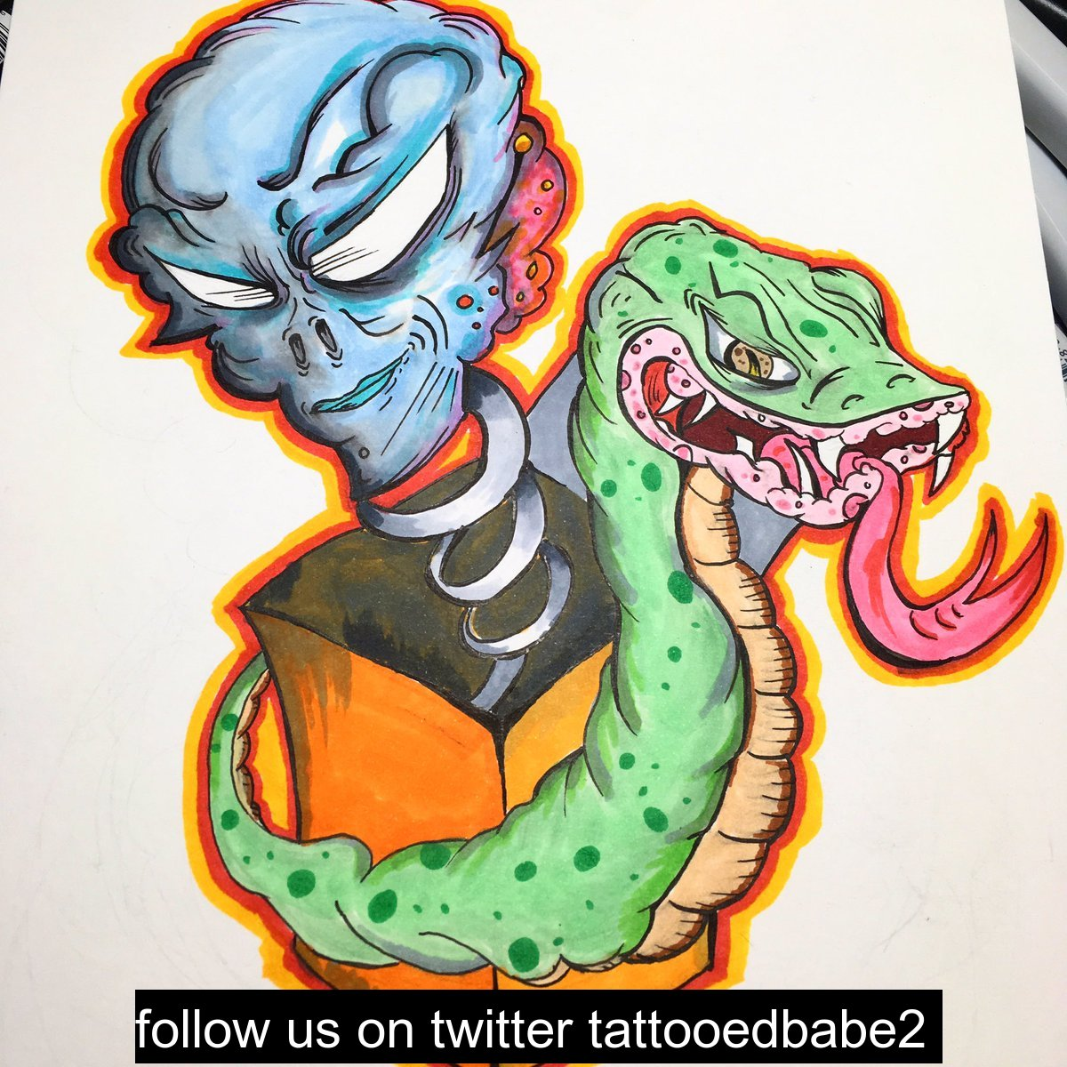 art artwork tattoo flash ink inking illustration cartoon alien snake colorful drawing