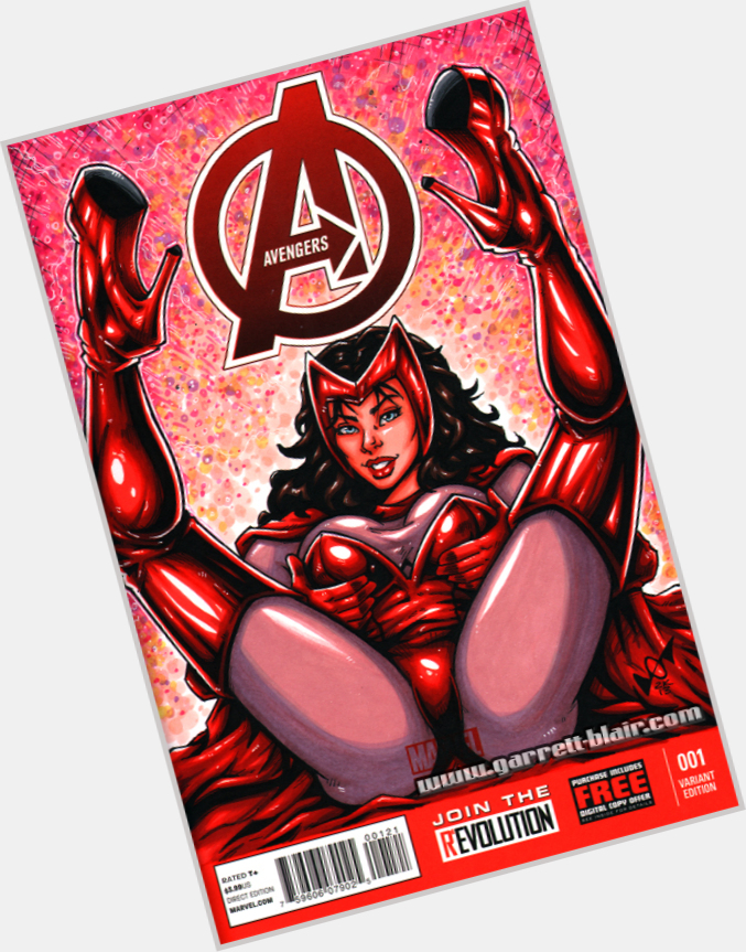 Scarlet Witch dark brown hair & hairstyles Athletic body,